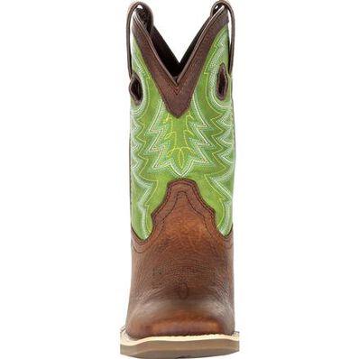 Durango® Lil' Rebel Pro™ Big Kid's Lime Western Boot, , large