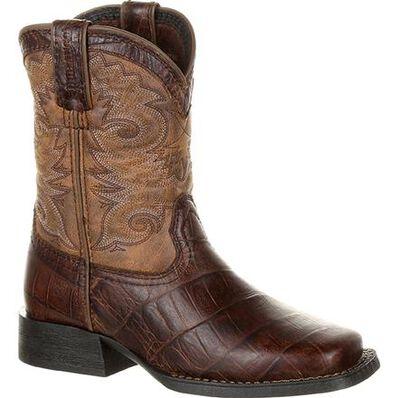 Lil' Durango® Mustang™ Big Kids' Faux Gator Western Boot, , large