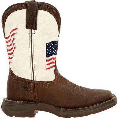 Lil' Rebel™ by Durango® Big Kids Distressed Flag Western Boot, , large