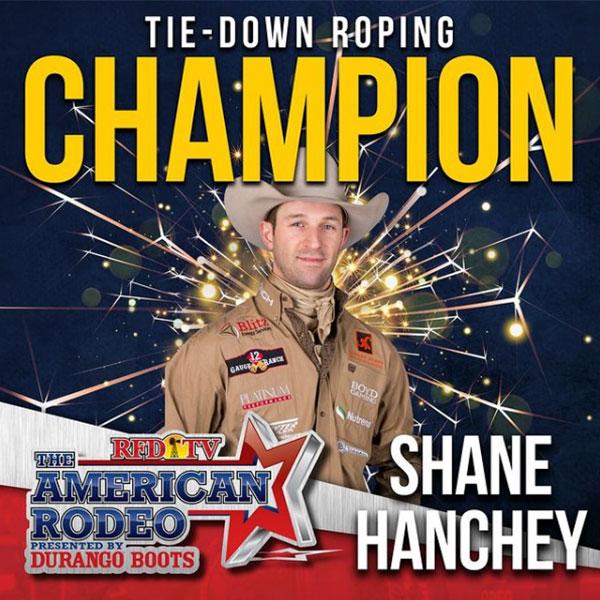 Team Durango Ambassador Shane Hanchey won the Tie-Down Roping Championship at the American Rodeo