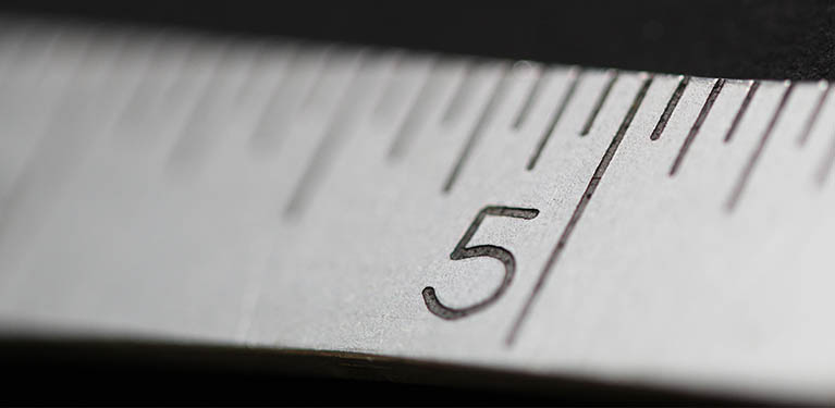 Close up view of a ruler